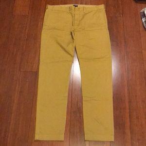J Crew Driggs 34 x 32 Mustard Yellow Chino